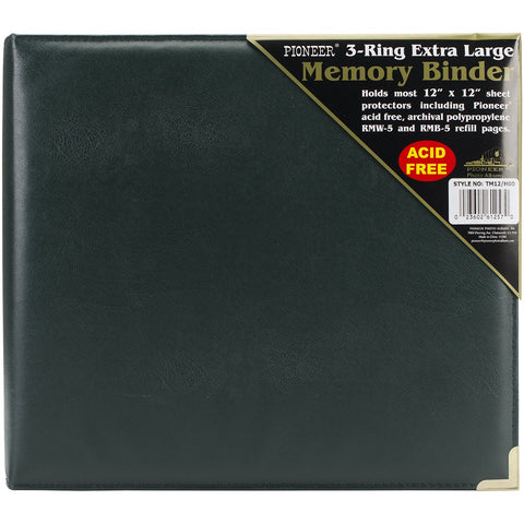 Pioneer 3-Ring Sewn Cover Album Hunter Green Oxford 12inX12in