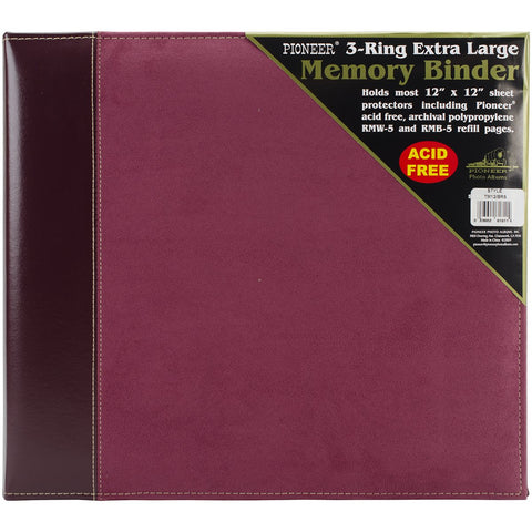 Pioneer 3-Ring Sewn Cover Album Burgundy Suede 12inX12in