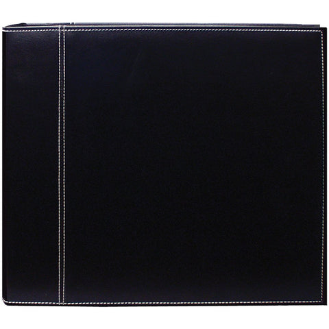 Pioneer 3-Ring Sewn Cover Album Black 12inX12in