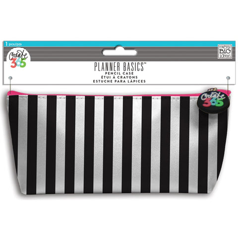 Create 365 Happy Planner Pencil Pouch Black and White 3.5inX8.25in