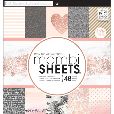 Mambi Single Sided Paper Pad Rose Gold 12inX12in 48pk