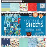 Mambi Single Sided Paper Pad 12inX12in 48pk Baby Boy Dreams