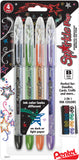 Pentel Sparkle Pop Metallic Gel Pens 1.0mm Black Green Orange Purple 4pk
