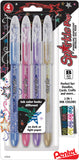 Pentel Sparkle Pop Metallic Gel Pens 1.0mm Blue Pink Purple Gold 4pk