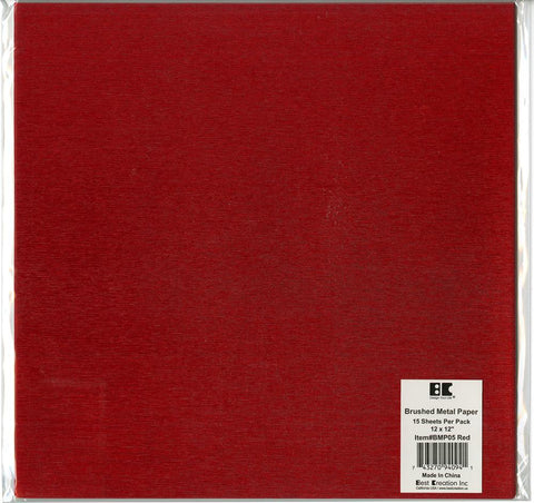 Best Creation Brushed Metal Single-Sided Paper Red 12inX12in