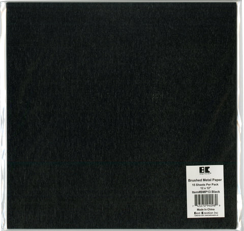 Best Creation Brushed Metal Single-Sided Paper Black 12inX12in