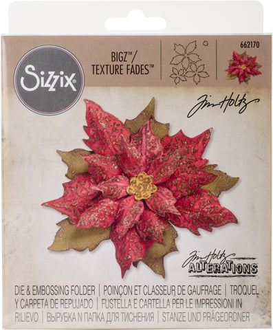 Sizzix Bigz Die with Texture Fades By Tim Holtz Layered Tattered Poinsettia 2.75inX6.625in