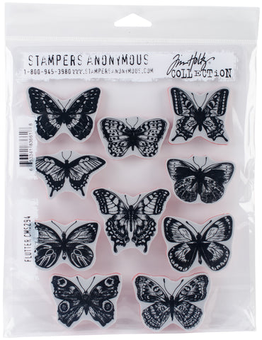 Tim Holtz Cling Stamps Flutter 7inX8.5in