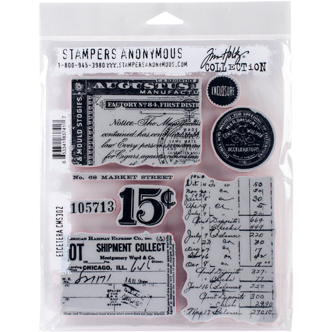 Tim Holtz Cling Stamps Etcetera 7inX8.5in