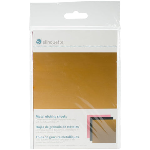 Silhouette Curio Metal Etching Sheets Black Gold Pink 5inx7in 3pk