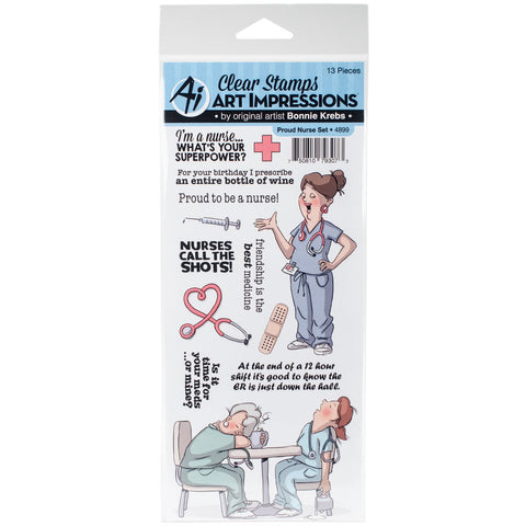 Art Impressions Work and Play Clear Stamp Set Proud Nurse