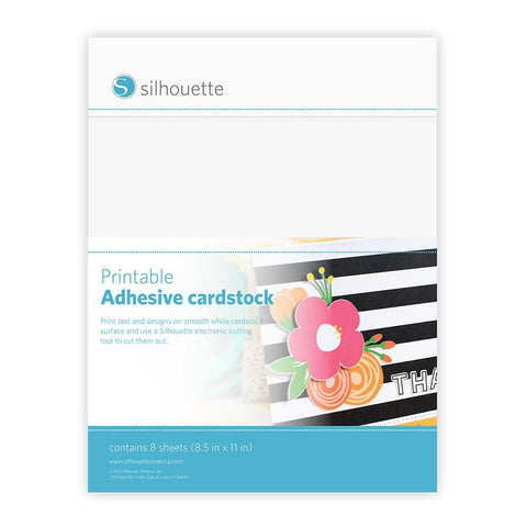 Silhouette Printable Adhesive Cardstock White 8.5inX11in 8pk