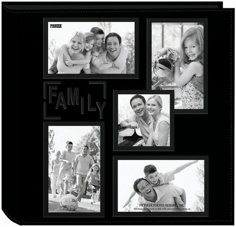 Pioneer 5Up Sewn Embossed Collage Frame Photo Album Black 12inx12in