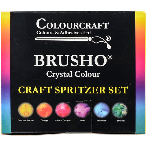 Brusho Crystal Colours Craft Spritzer Set Assorted Colors 6pk