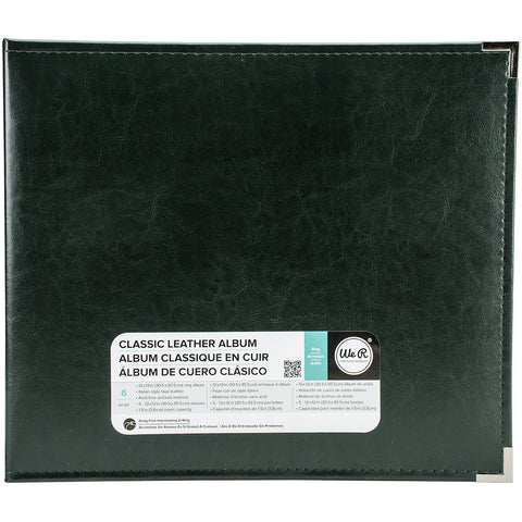 We R Classic Leather D-Ring Album Forest Green 12inx12in