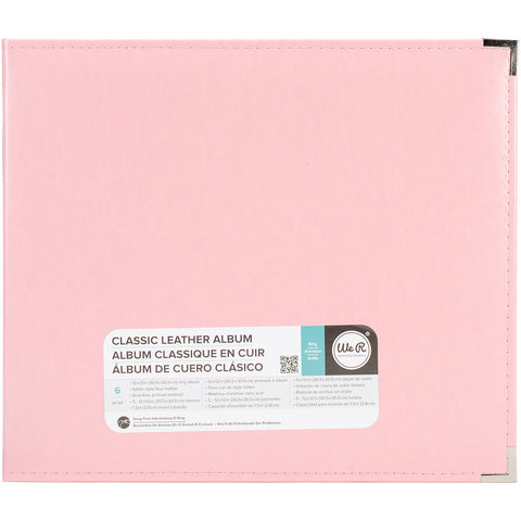 We R Classic Leather D-Ring Album Pretty Pink 12inx12in