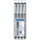Pigment Fineliner Sketch Pen Black .1, .3, .5 & .7mm Pens 4pk