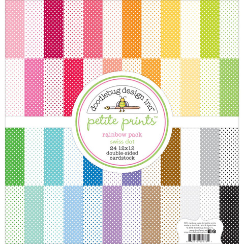 Doodlebug Petite Swiss Dot Cardstock Rainbow 24 Colors 1 Each 12inX12in 24pk