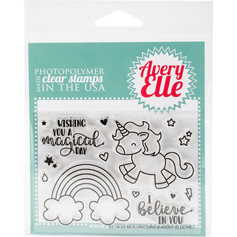 Avery Elle Clear Stamp Set Be A Unicorn 4inx3in