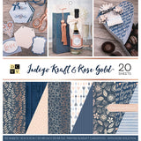 DCWV Double-Sided Cardstock Stack Indigo Kraft & Rose Gold 12inX12in 20pk