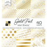DCWV Single-Sided Cardstock Stack White with Gold Foil 6inX6in 4 pk