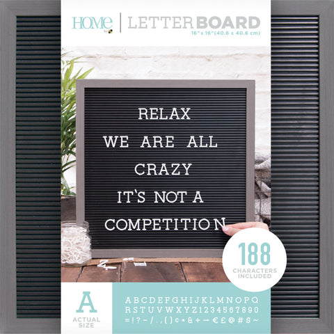 DCWV Framed Letterboard Gray Stained with Black Insert 16inX16in