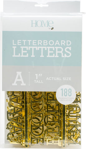 DCWV Letterboard Letters and Characters Gold 1in 188pk