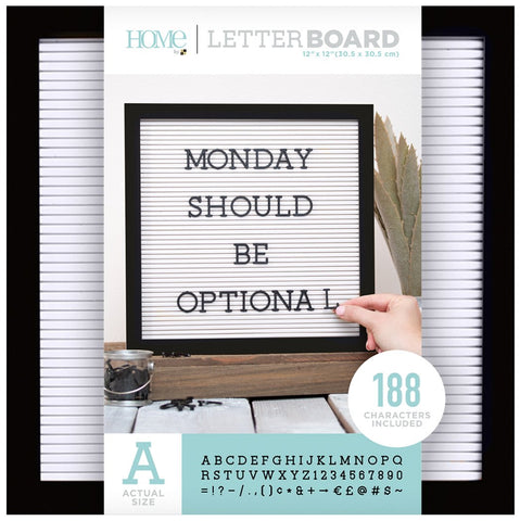 DCWV Framed Letterboard Black with White Insert 12inX12in