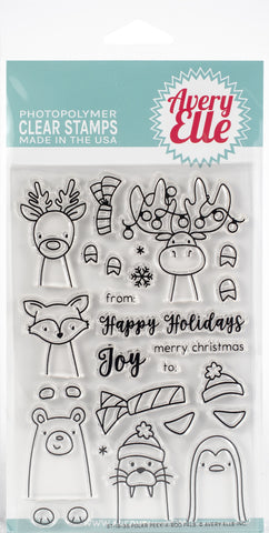 Avery Elle Clear Stamp Set Polar Peek-A-Boo Pals 4inX6in