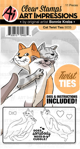 Art Impressions Twist Ties Stamp and Die Set Cat
