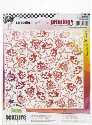 Carabelle Studio Art Printing Square Rubber Texture Plate Ladybugs Among The Stars