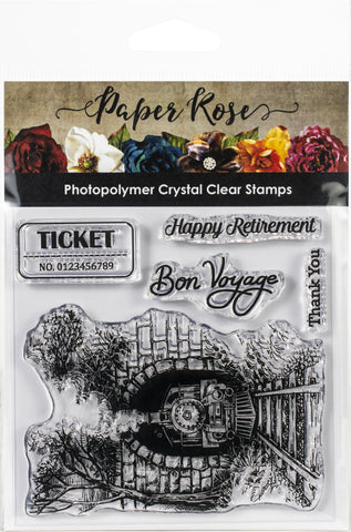 Paper Rose Clear Stamps Through The Tunnel 4inX4in