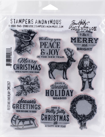 Tim Holtz Cling Stamps Festive Overlay 7inX8.5in