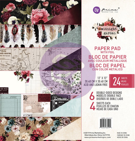 Prima Marketing Double-Sided Paper Pad 12inx12in Midnight Garden 6 Foiled Designs4 Each 24pk