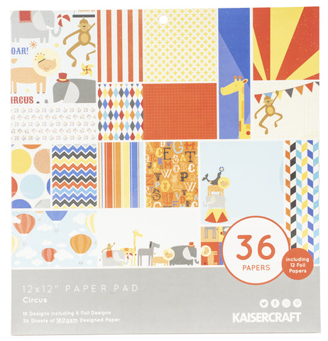 Kaisercraft Specialty Paper Pad Circus 12inX12in 36pk
