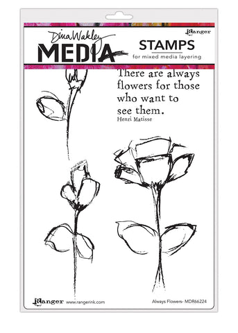 Dina Wakley Media Cling Stamps Always Flowers 6inX9in
