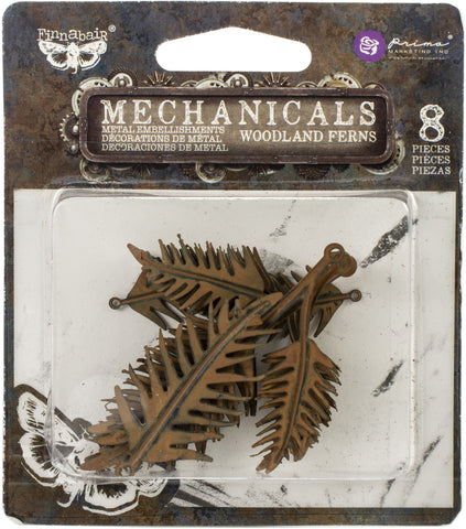 Finnabair Mechanicals Metal Embellishments Woodland Fern 8pk
