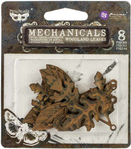 Finnabair Mechanicals Metal Embellishments Woodland Leaves 8pk