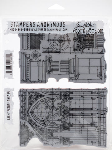 Tim Holtz Cling Stamps Architecture 7inX8.5in