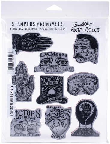 Tim Holtz Cling Stamps Eclectic Adverts 7inX8.5in