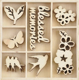 Kaisercraft Wood Mini Themed Embellishments Morning Dew 40pk