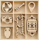Kaisercraft Wood Mini Themed Embellishments Journey 40pk