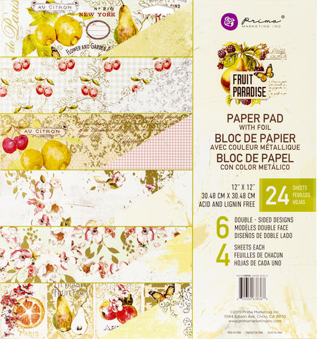 Prima Marketing Double-Sided Paper Pad Fruit Paradise 12inX12in 24pk