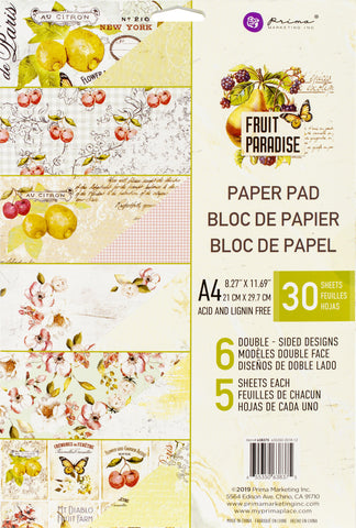 Prima Marketing Double-Sided Paper Pad A4 Fruit Paradise 30pk