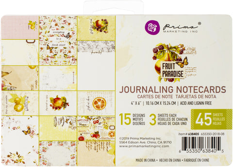 Prima Marketing Fruit Paradise Journaling Card 4inX6in 45pk