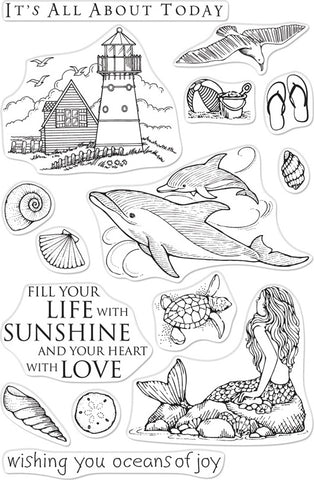 Hero Arts From The Vault Clear Stamp Beach & Sea 4inX6in