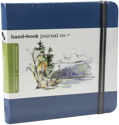 Hand Book Travelogue Drawing Journal Square 5.5inX5.5in 64 Sheets-Ultramarine Blue