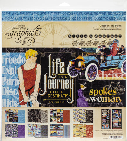 Graphic 45 Collection Pack Life's A Journey 12inX12in