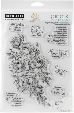 Hero Arts + Gina K Stamp Set Friendship Blooms 6inX8in