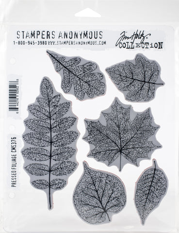 Tim Holtz Cling Stamps Pressed Foliage 7inX8.5in